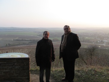 With François Moutard above the grand cru vineyards of Chablis.
