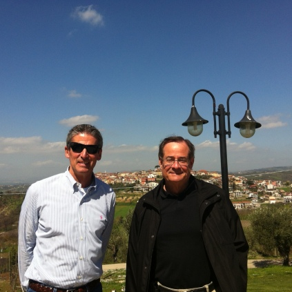 The town of Sant'Angelo all'Esca behind Paul and me