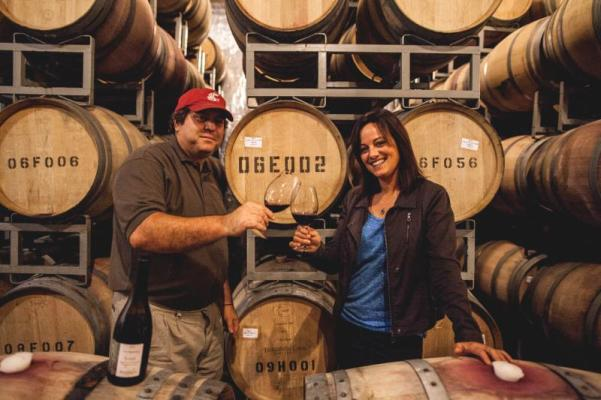 Winemaker Dave Harvey and co-founder Annette Bergevin