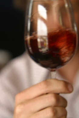 A glass of red wine. Swish to get the flavour.