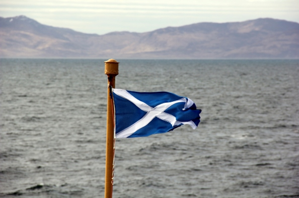 Scottish Flag Blowing In The Breeze