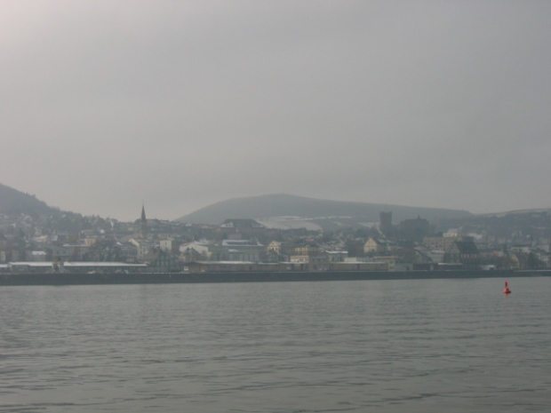 the Rheingau and the town of Rüdesheim in winter.