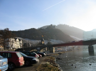 Bernkastel in winter. The snow melts on the sunny slopes first.